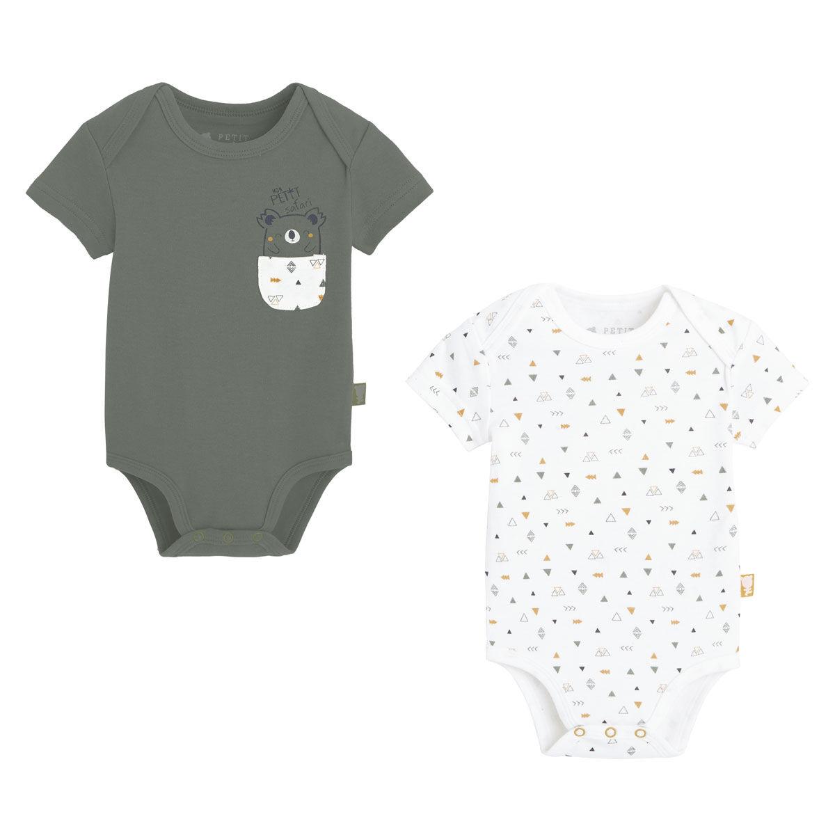 Petit Béguin Lot de 2 bodies bébé garçon manches courtes Petit Safari - Taille - 6 mois