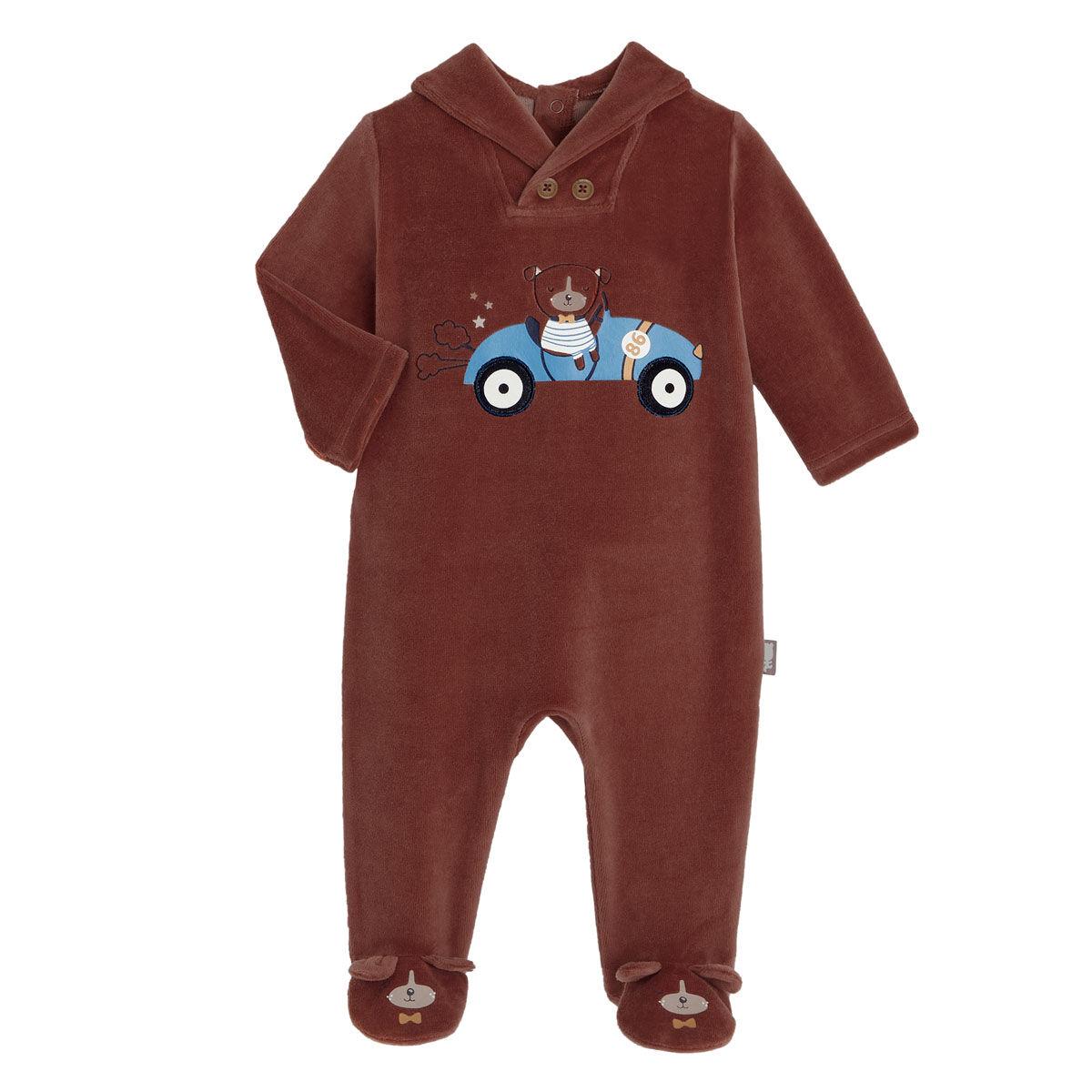 Petit Béguin Pyjama bébé en velours Dandy Dog - Taille - 6 mois