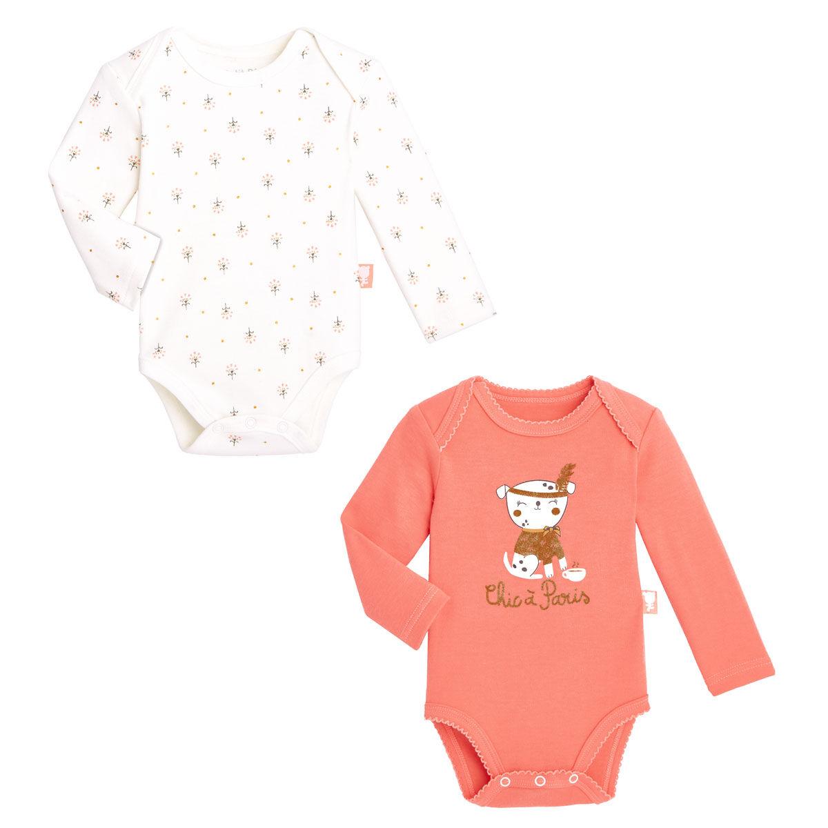 Petit Béguin Lot de 2 bodies bébé fille manches longues Chic à Paris - Taille - 12 mois