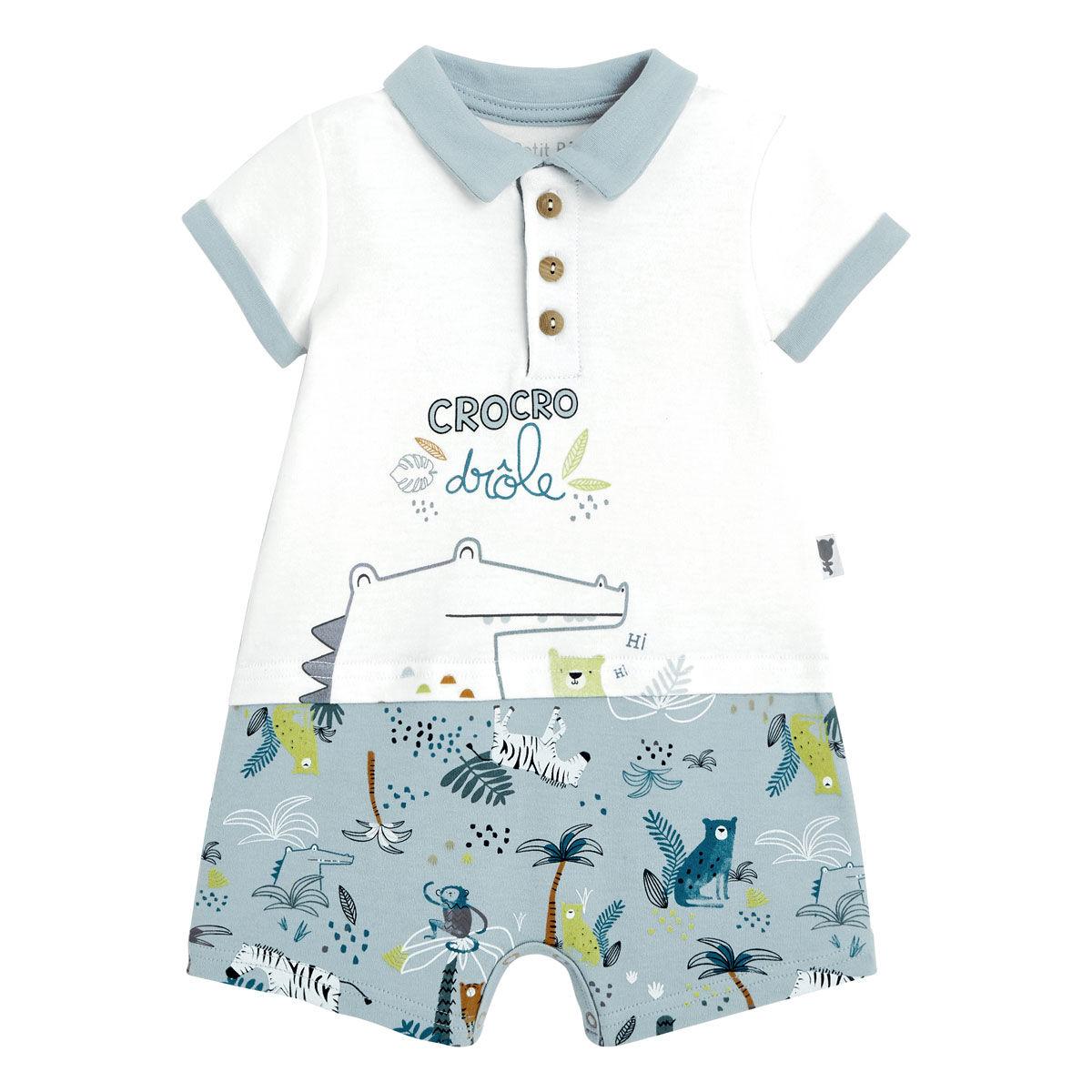 Petit Béguin Combishort bébé garçon Croco Jungle - Taille - 6 mois