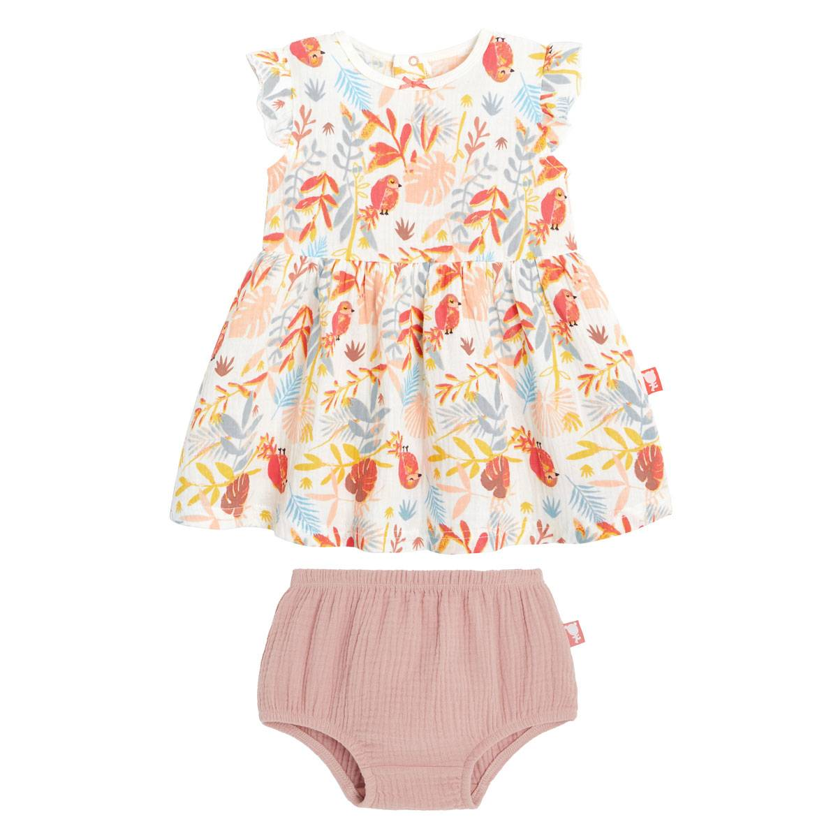 Petit Béguin Robe fille et culotte Tropic - Taille - 12 mois