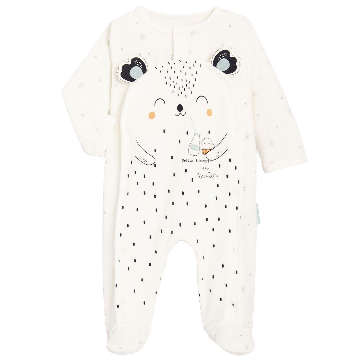Petit Béguin Pyjama bébé mixte en velours contenant du coton bio Bonheur du matin - Taille - 3 mois