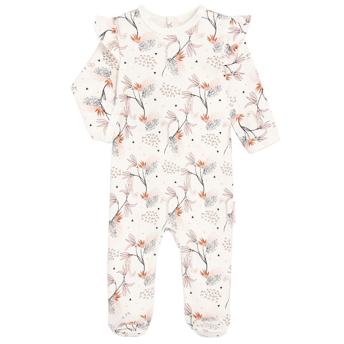 Petit Béguin Pyjama bébé contenant du coton bio Exotic Bird - Taille - 6 mois