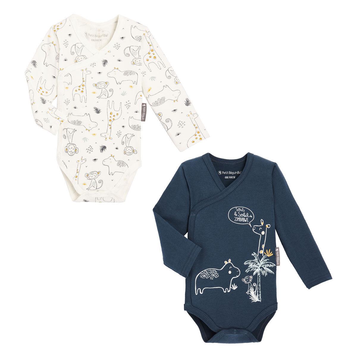 Petit Béguin Lot de 2 bodies bébé garçon croisés manches longues contenant du coton bio Sous le soleil - Taille - 6 mois