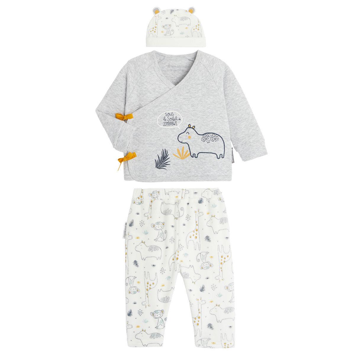 Petit Béguin Ensemble bébé garçon gilet croisé et pantalon contenant du coton bio Sous le soleil - Taille - 3 mois
