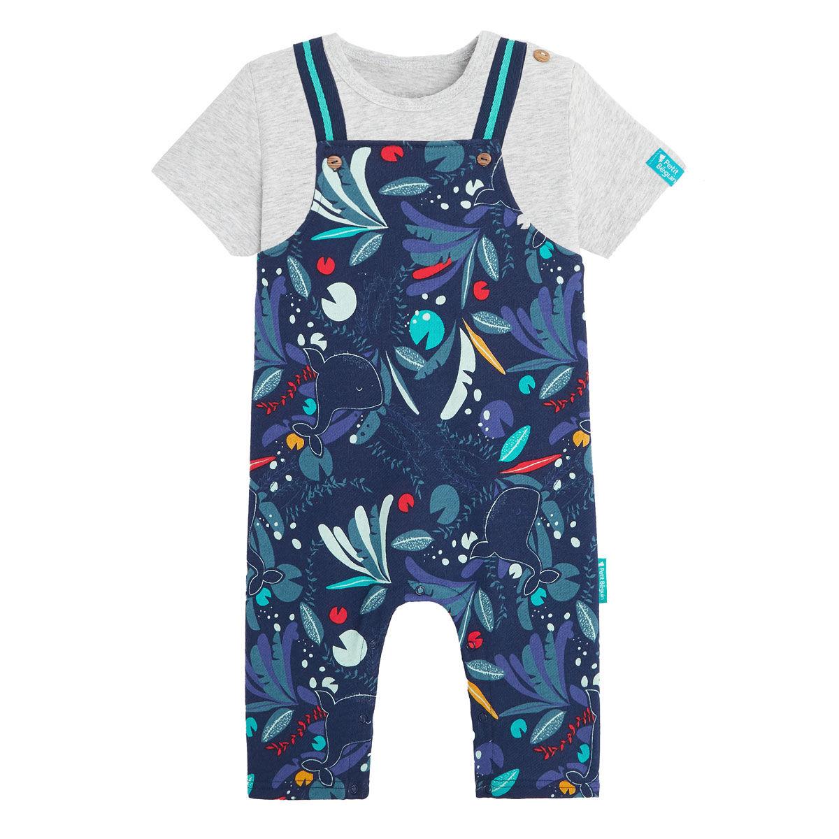 Petit Béguin Salopette bébé garçon contenant du coton gratté bio et t-shirt Sea You - Taille - 9 mois