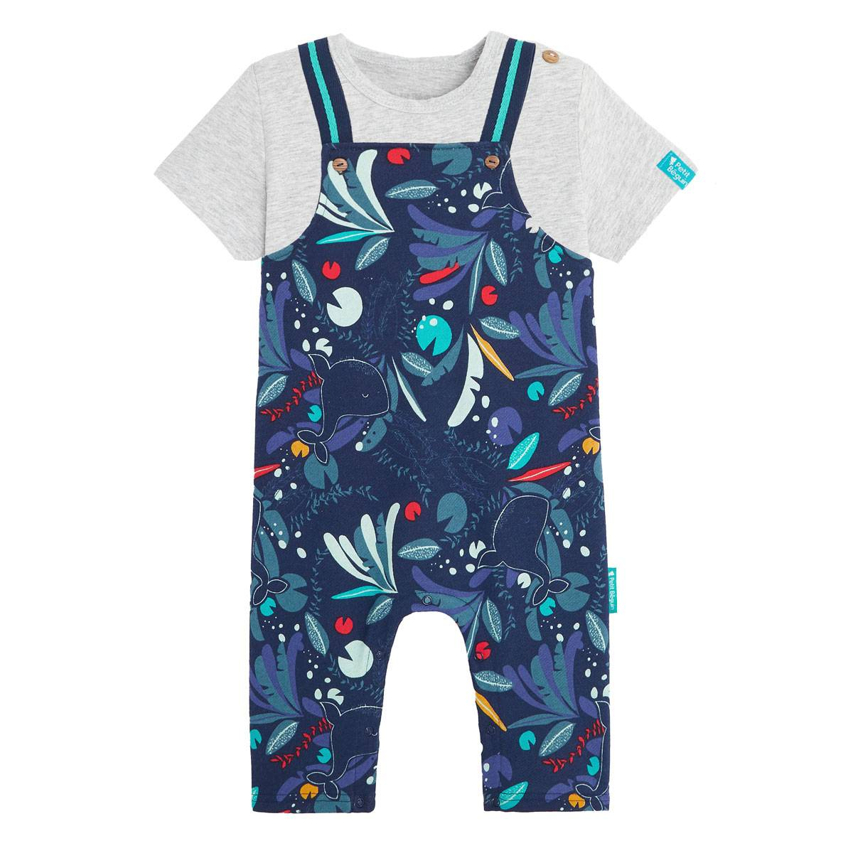 Petit Béguin Salopette bébé garçon contenant du coton gratté bio et t-shirt Sea You - Taille - 6 mois