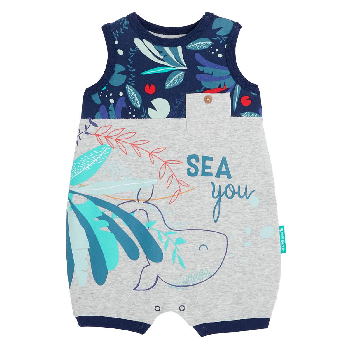 Petit Béguin Barboteuse bébé garçon contenant du coton bio Sea You - Taille - 18 mois