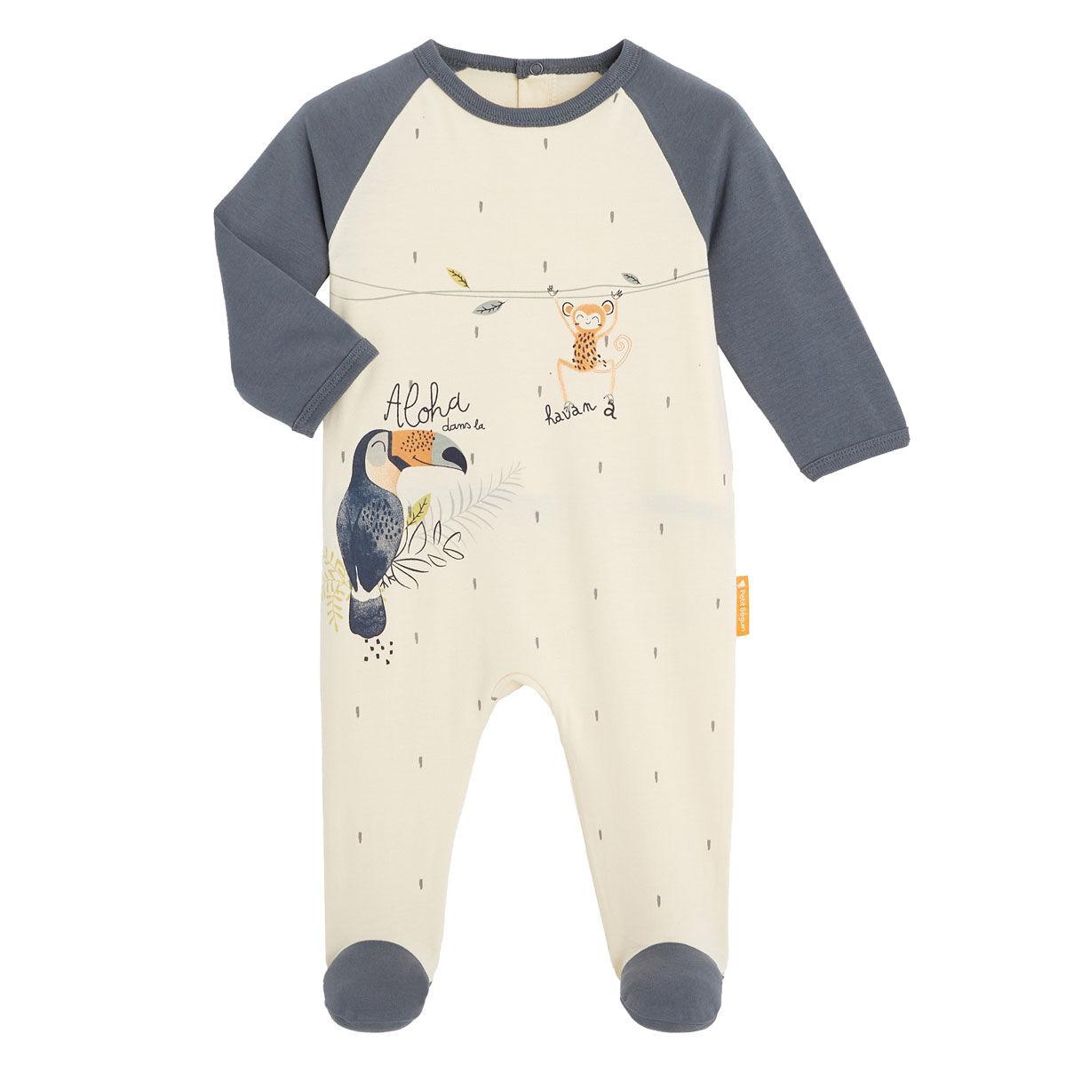 Petit Béguin Pyjama bébé contenant du coton bio Aloha Havana - Taille - 6 mois