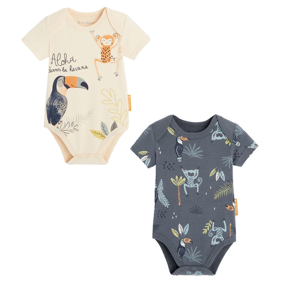 Petit Béguin Lot de 2 bodies bébé garçon manches courtes contenant du coton bio Aloha Havana - Taille - 6 mois