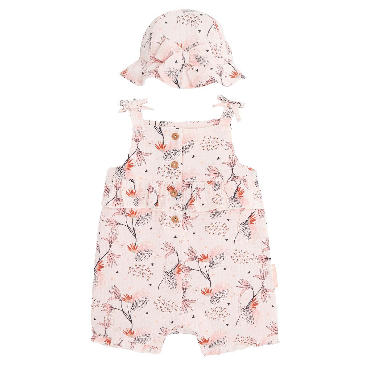 Petit Béguin Barboteuse bébé fille et chapeau en gaze de coton bio Exotic Bird - Taille - 6 mois