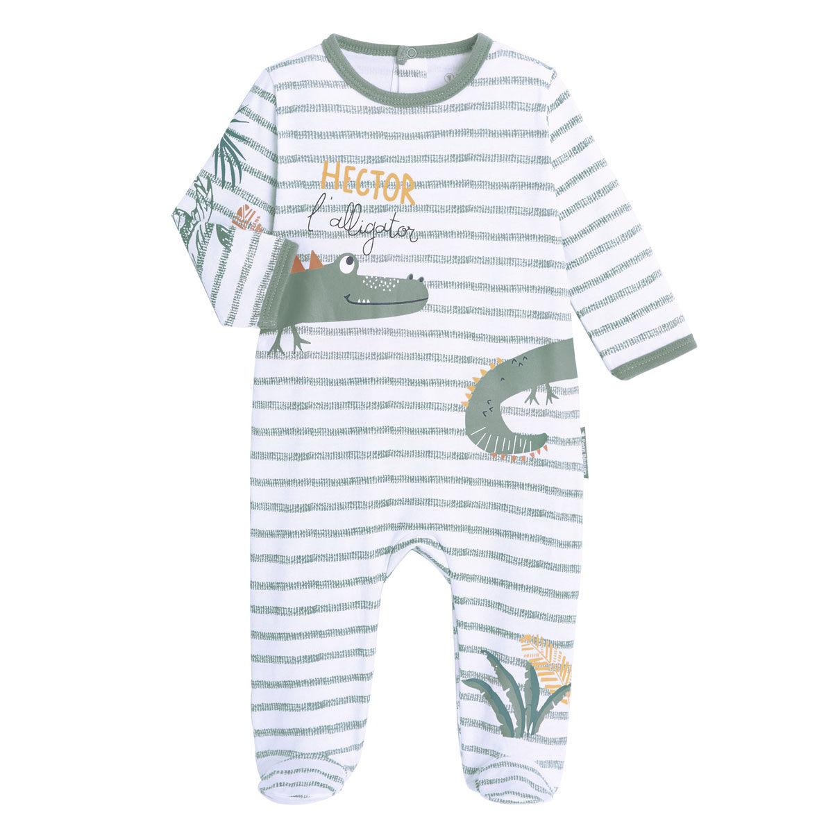 Petit Béguin Pyjama bébé contenant du coton bio Hector - Taille - 3 mois
