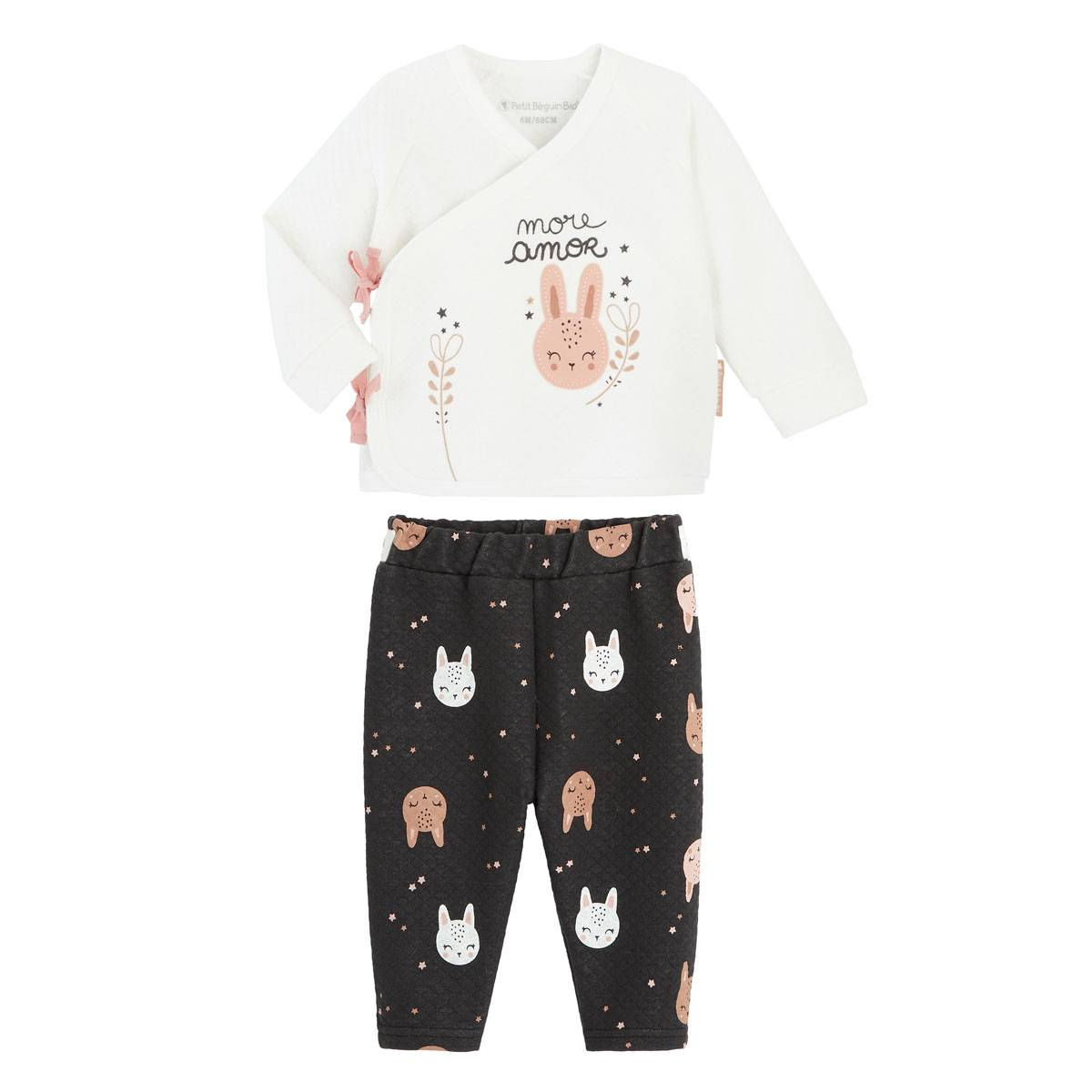 Petit Béguin Ensemble bébé fille gilet croisé et pantalon contenant du coton bio Chantilly - Taille - 1 mois