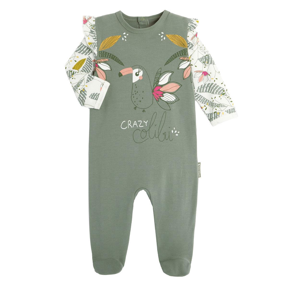 Petit Béguin Pyjama bébé contenant du coton bio Crazy Colibri - Taille - 6 mois