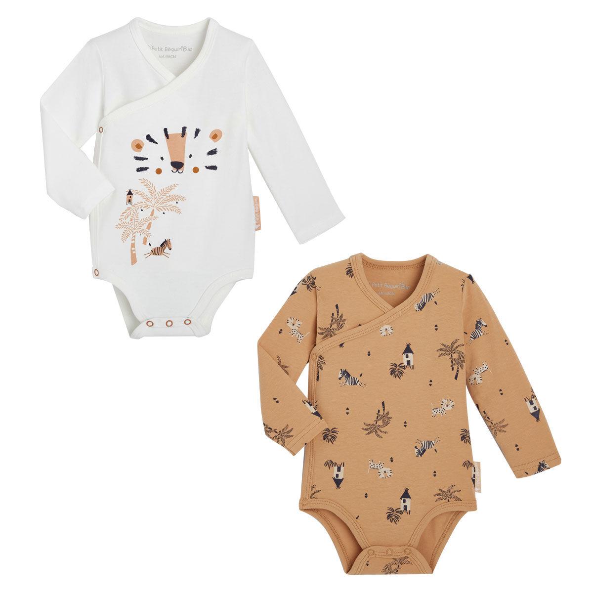 Petit Béguin Lot de 2 bodies bébé garçon croisés manches longues contenant du coton bio Safari Jungle - Taille - 6 mois