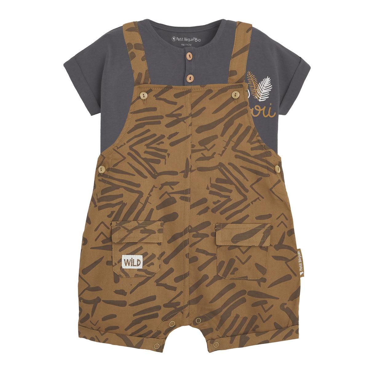 Petit Béguin Salopette bébé garçon et t-shirt contenant du coton bio Wild Safari - Taille - 6 mois