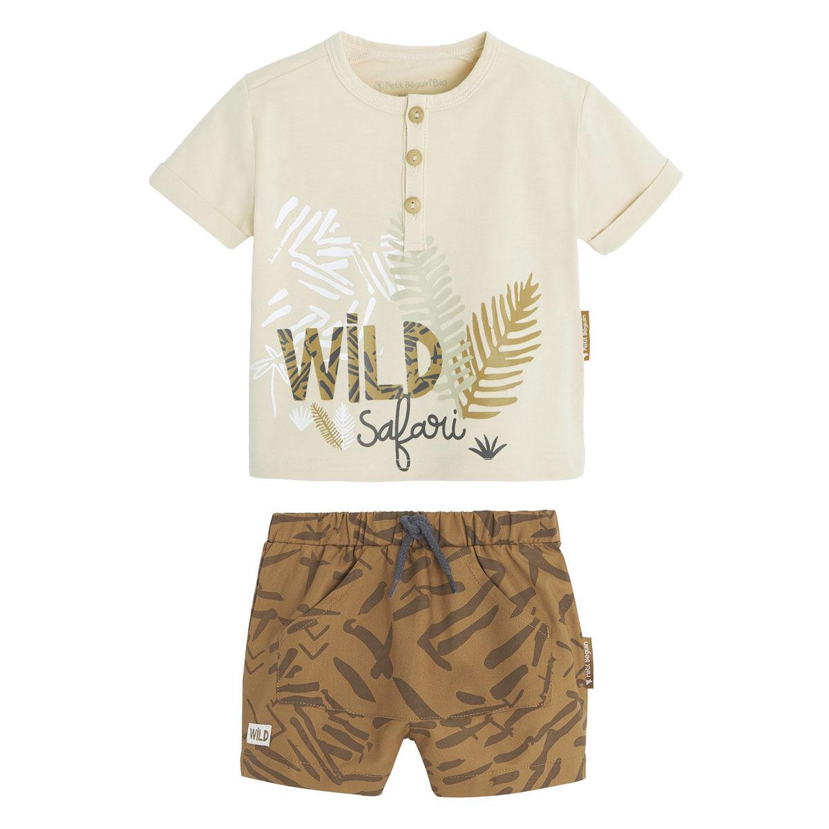 Petit Béguin Ensemble bébé garçon t-shirt contenant du coton bio + short Wild Safari - Taille - 12 mois