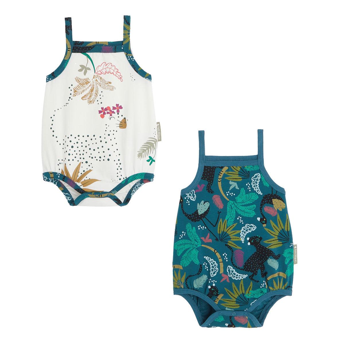 Petit Béguin Lot de 2 bodies bébé fille à bretelles Blue Coco - Taille - 3 mois