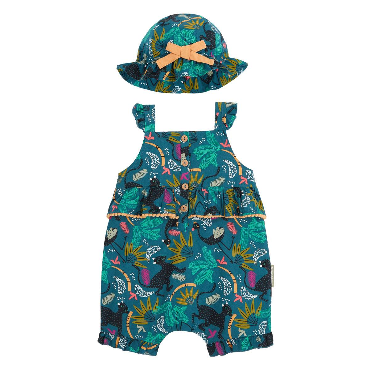 Petit Béguin Barboteuse bébé fille et chapeau Blue Coco - Taille - 6 mois