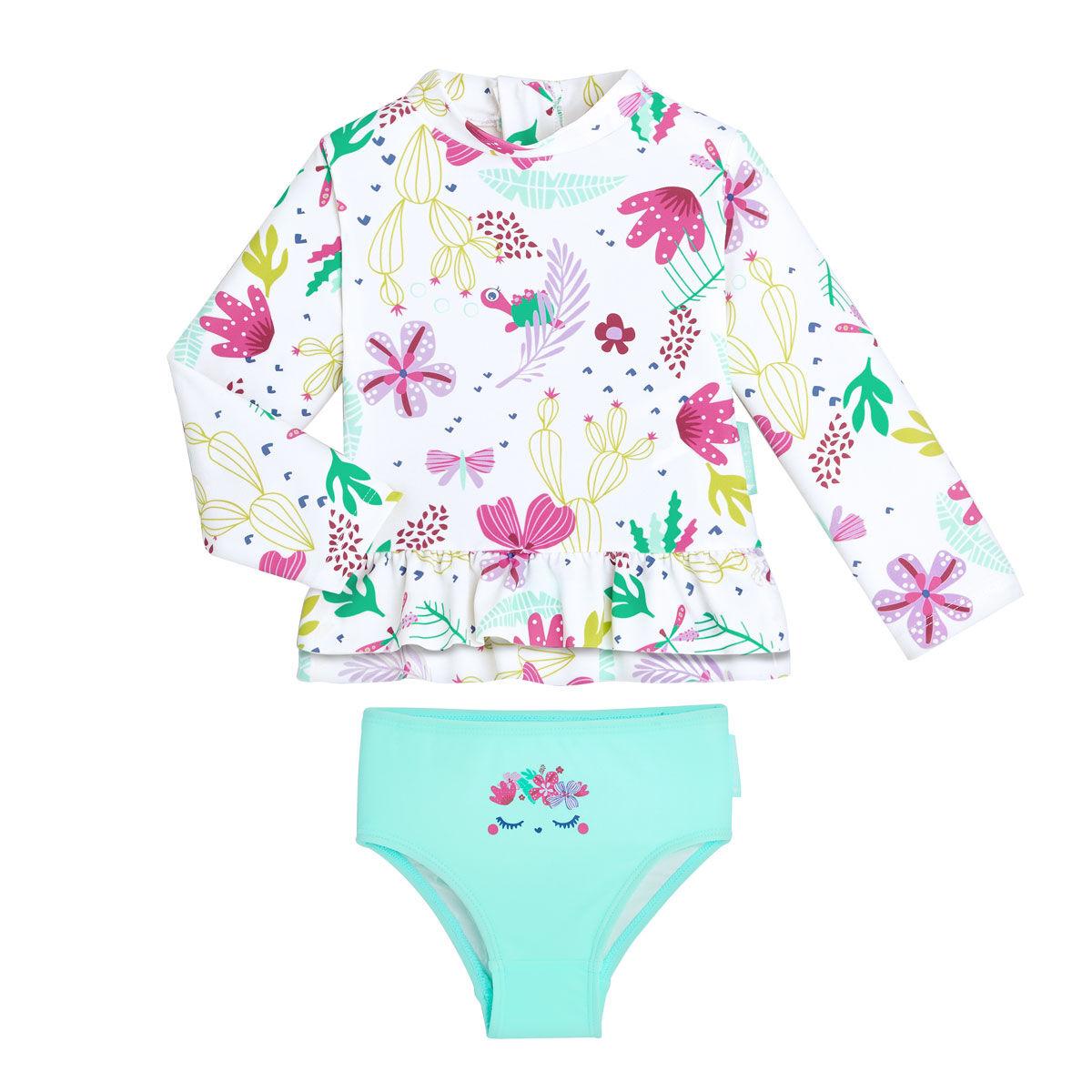 Petit Béguin Maillot de bain ANTI-UV fille 2 pièces t-shirt & culotte Tropic Coco - Taille - 6 mois