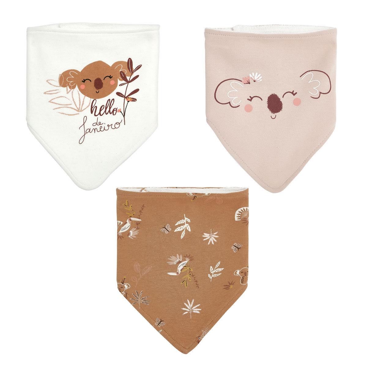 Petit Béguin Lot de 3 bavoirs foulards bébé fille Janeiro