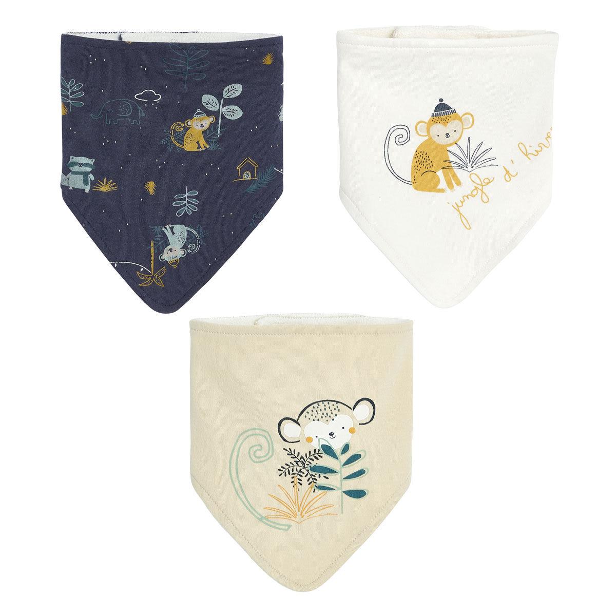 Petit Béguin Lot de 3 bavoirs foulards bébé garçon Jungle d'Hiver