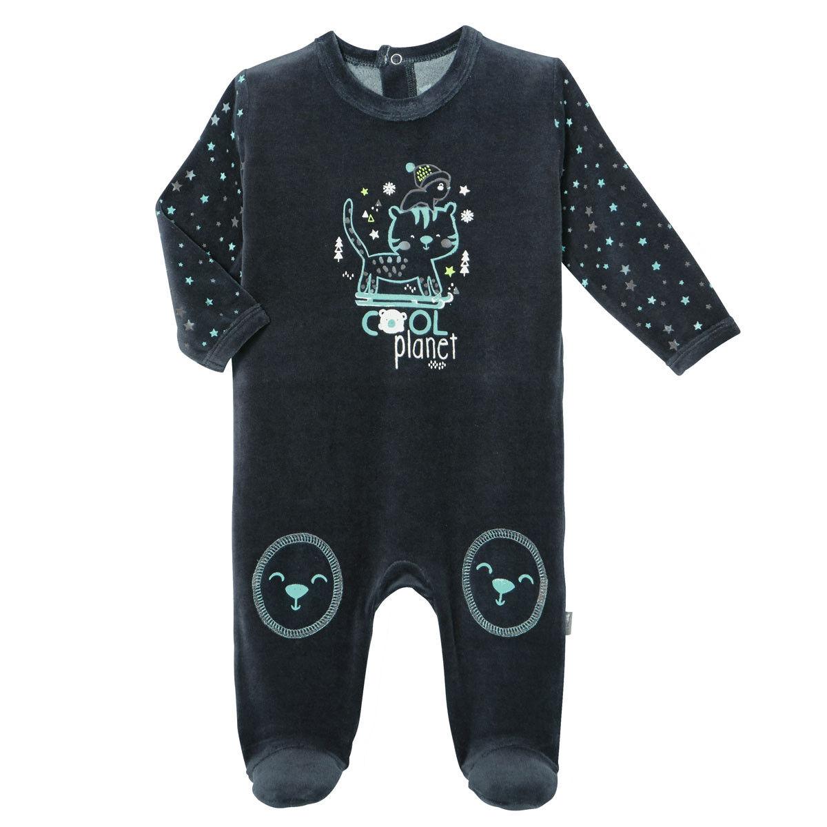 Petit Béguin Pyjama bébé velours Cool Planet - Taille - 12 mois