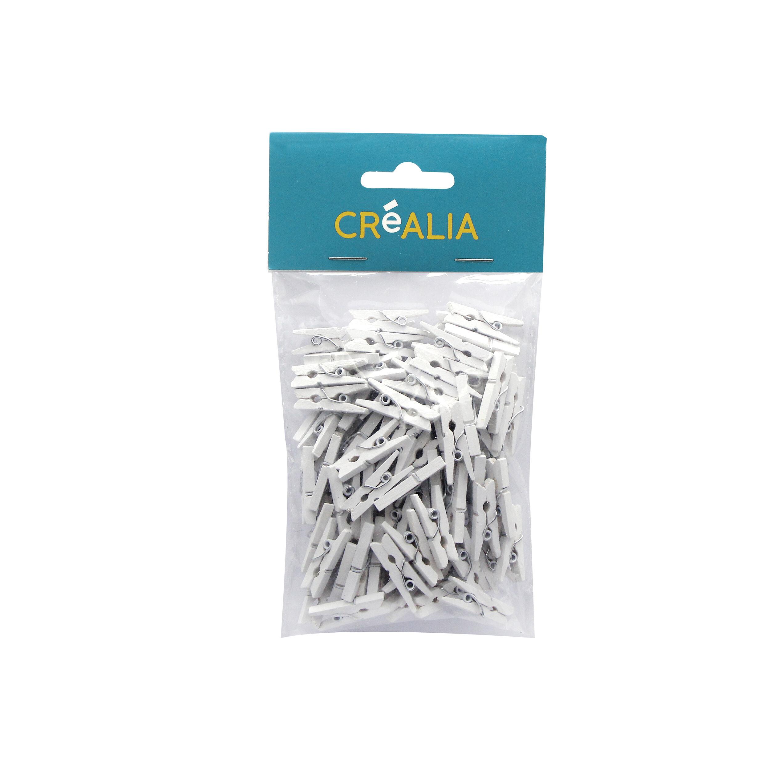 100 Pinces À Linge 2,5 Cm - Blanc - Créalia
