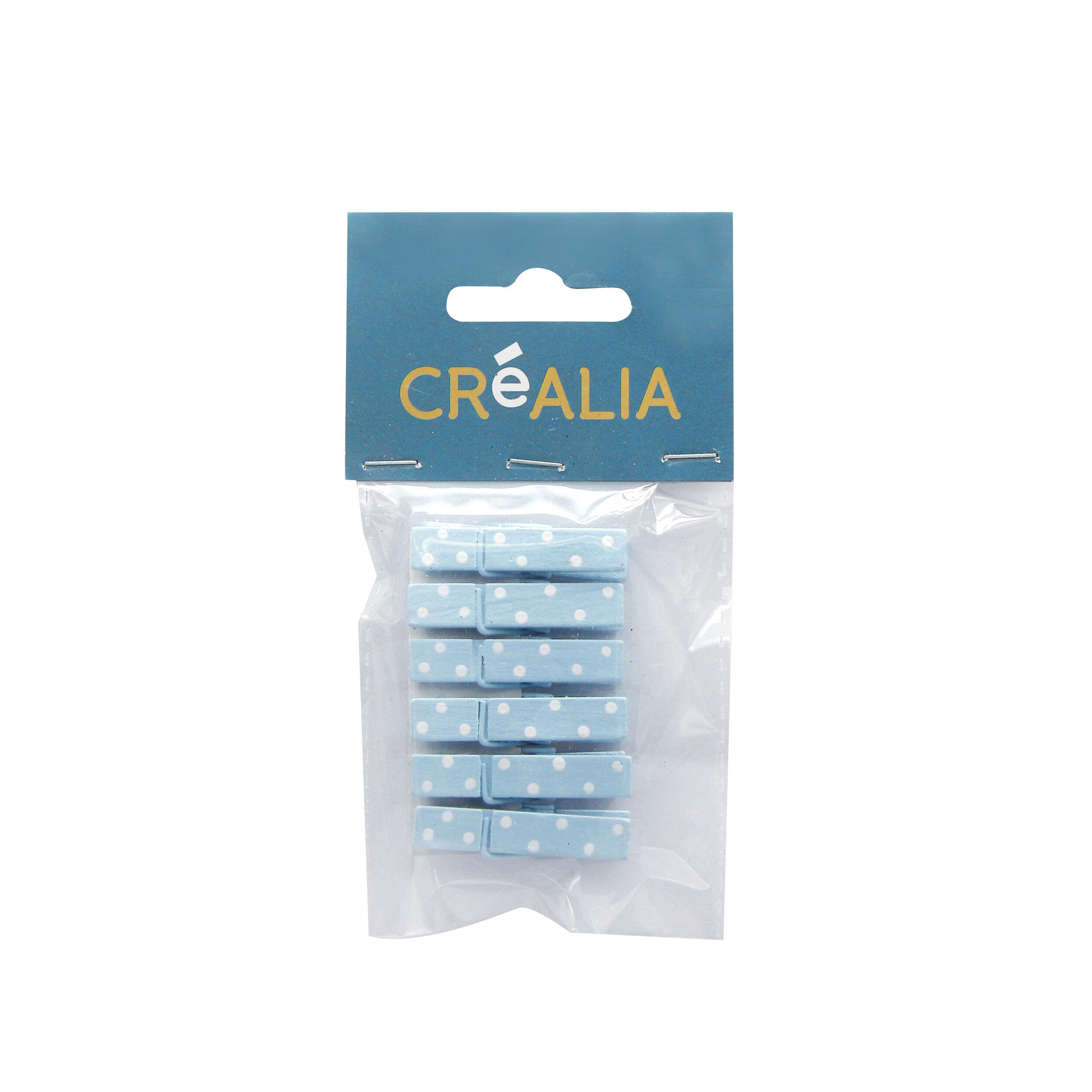 6 pinces à linge 3,5 cm - bleu et blanc - Créalia
