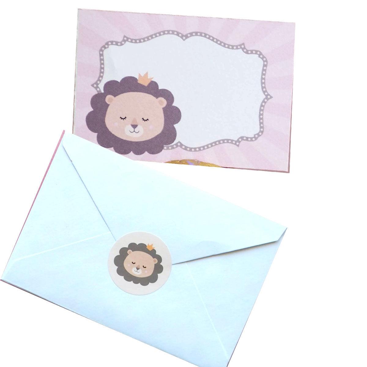 10 cartes simples - Lion - avec enveloppes et stickers