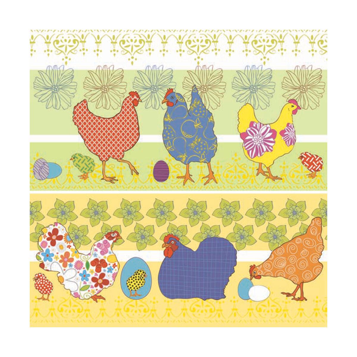 20 serviettes - Chickens yellow - 33x33cm