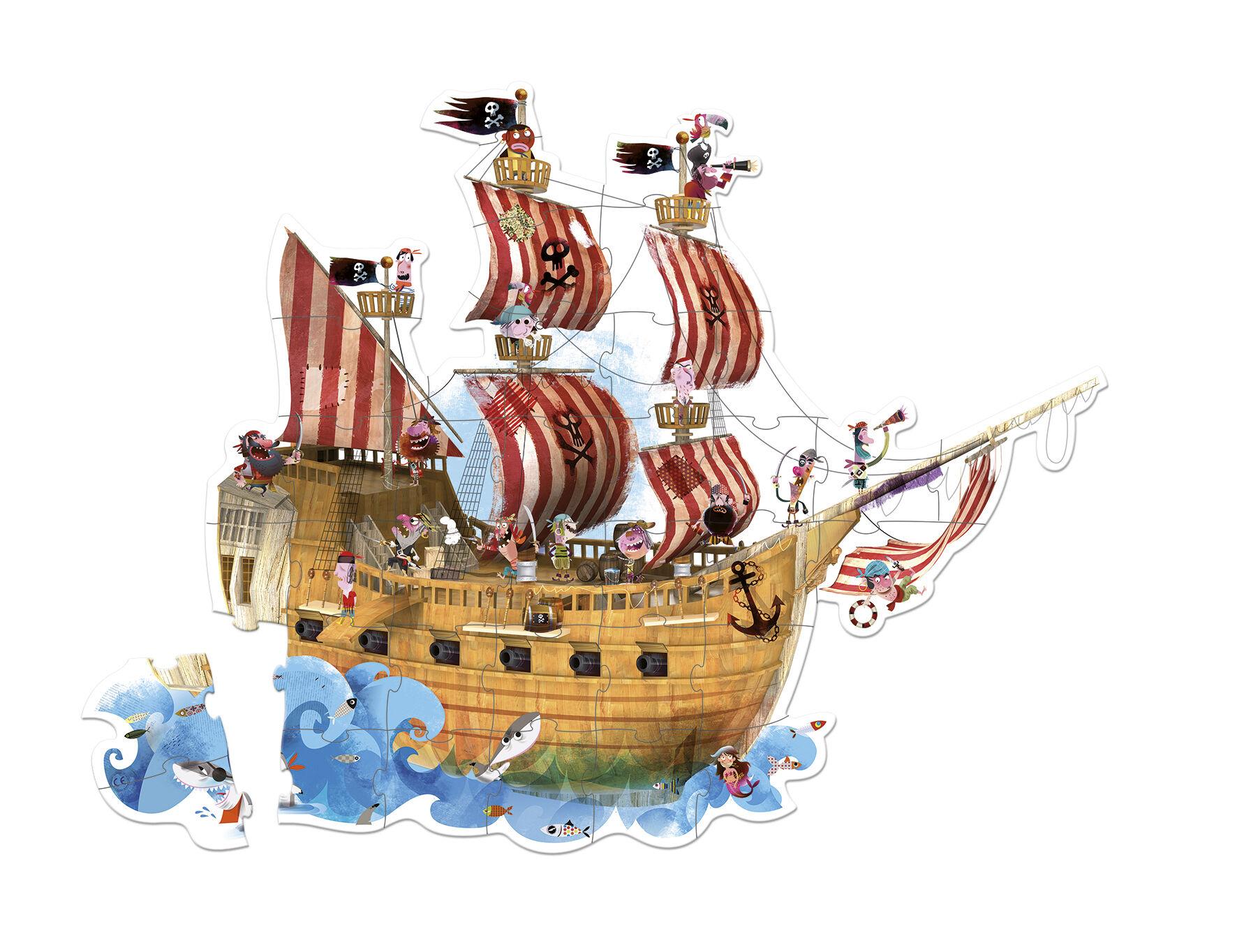 Valisette Puzzle Géant Pirates - 39 Pièces
