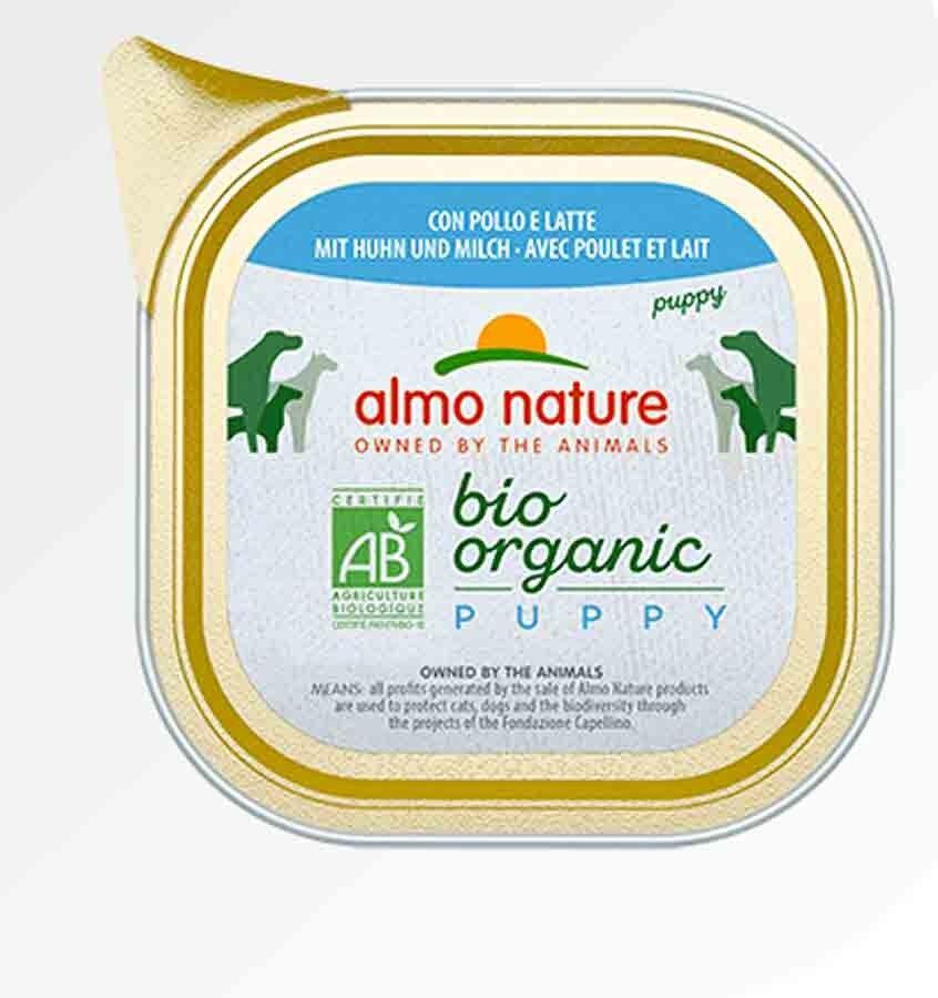 Bio Organic Almo Nature Chien Bio Organic Maintenance Puppy poulet et lait 32 x 100 grs