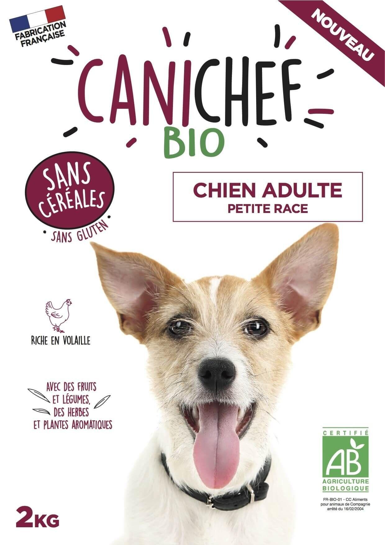Canichef croquettes BIO sans céréales, sans gluten chien petite race 2 kg