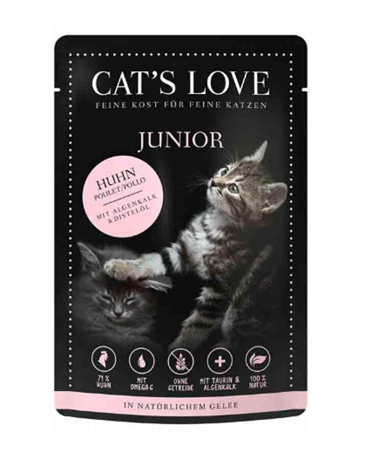 Cat's Love Junior poulet sans céréales et sans gluten 12 x 85 g