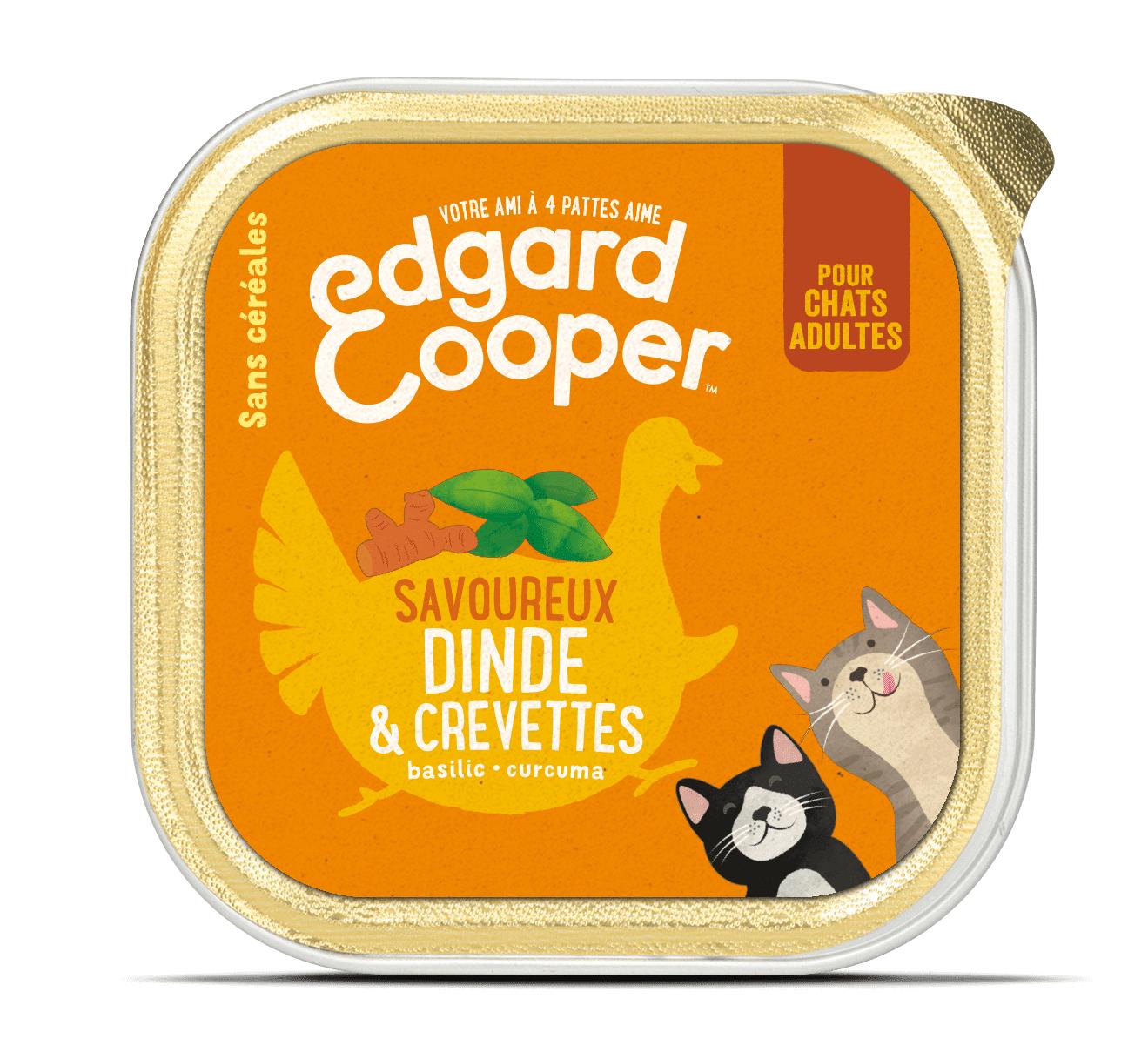 Edgard & Cooper Savoureux Dinde & Crevettes pour chat adulte 19 x 85 g