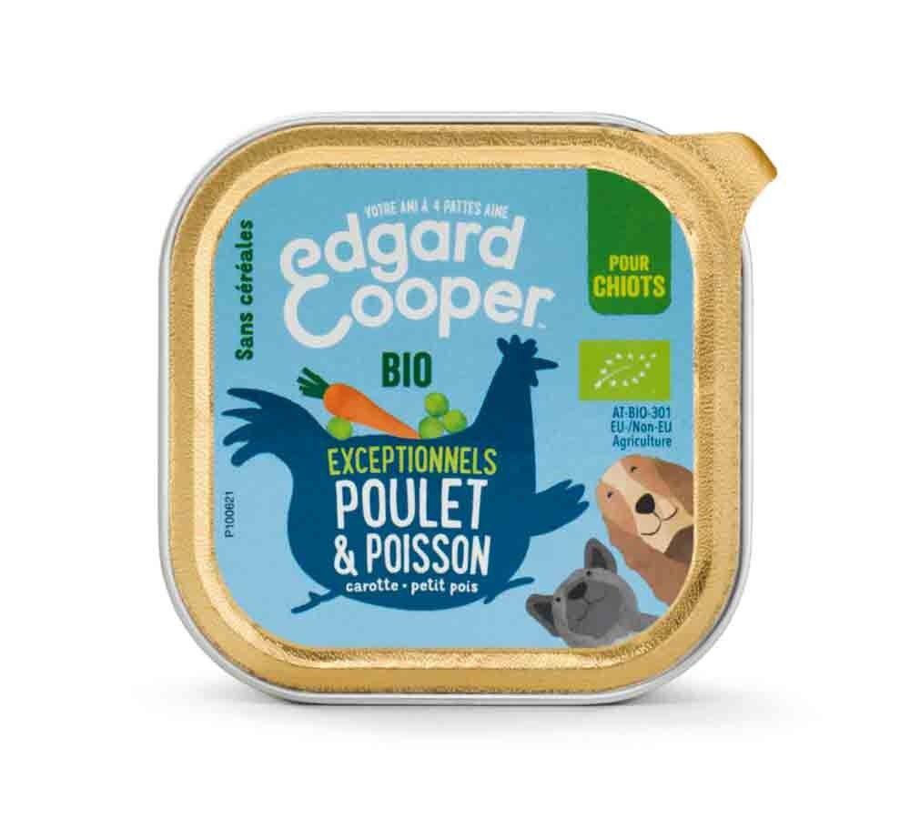 Edgard & Cooper Barquette Poulet & Poisson Bio pour chiot 17 x 100 g