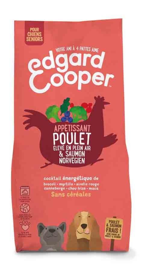 Edgard & Cooper Croquettes Poulet frais & Saumon norvégien sans céréales Grand Chien Senior 12 kg