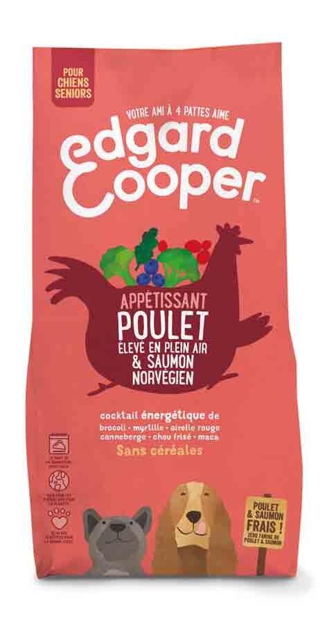 Edgard & Cooper Croquettes Poulet frais & Saumon norvégien sans céréales Chien Senior 700 g