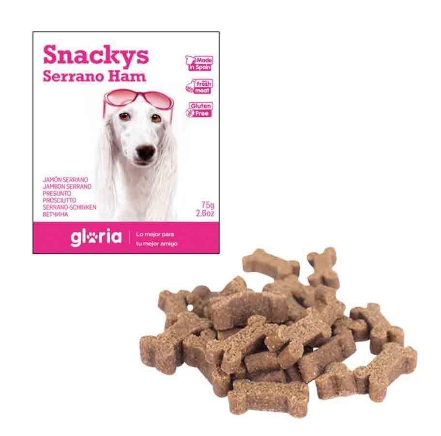 Snackys Gloria Snakys friandises au jambon de sarrano sans gluten pour chien 75 g