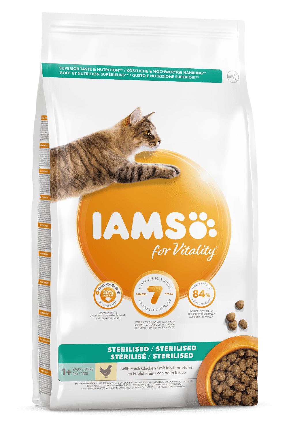 IAMS Vitality croquettes chat stérilisé poulet 1.5 kg