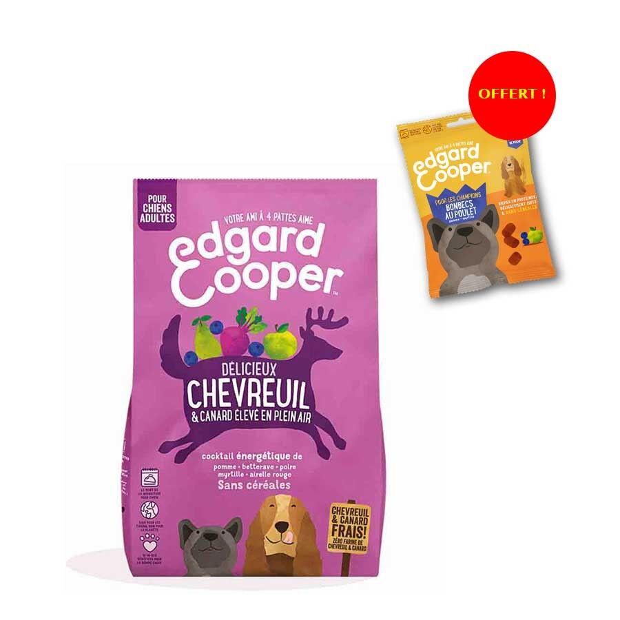 Edgard & Cooper Offre Edgard & Cooper: 1 sac de croquettes Chevreuil frais & Canard sans céréales Chien adulte 2,5 kg acheté = 1 sachet de Bonbecs au poulet offert