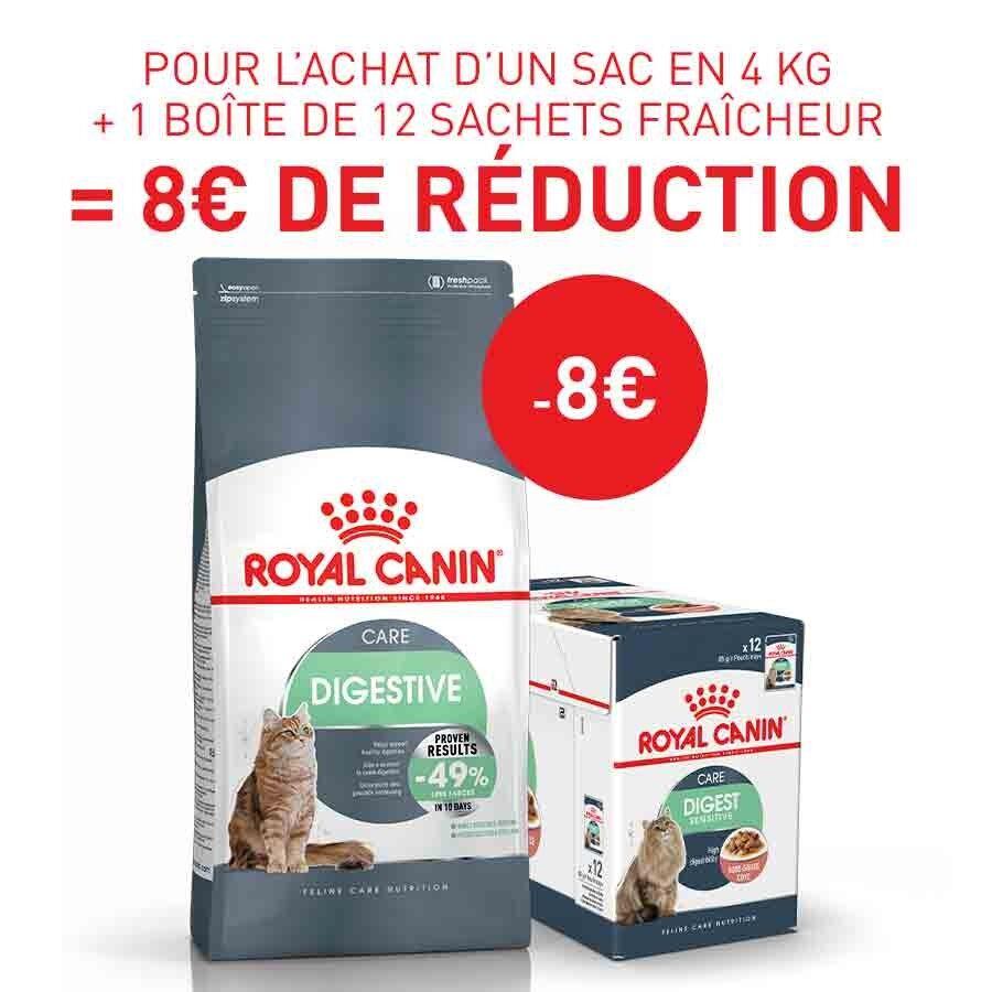 Royal Canin Feline Care Nutrition Offre Royal Canin: 1 sac Féline Care Nutrition Digestive Care 4 kg + 12 sachets Digest Sensitive sauce achetés = 8€ de remise immédiate