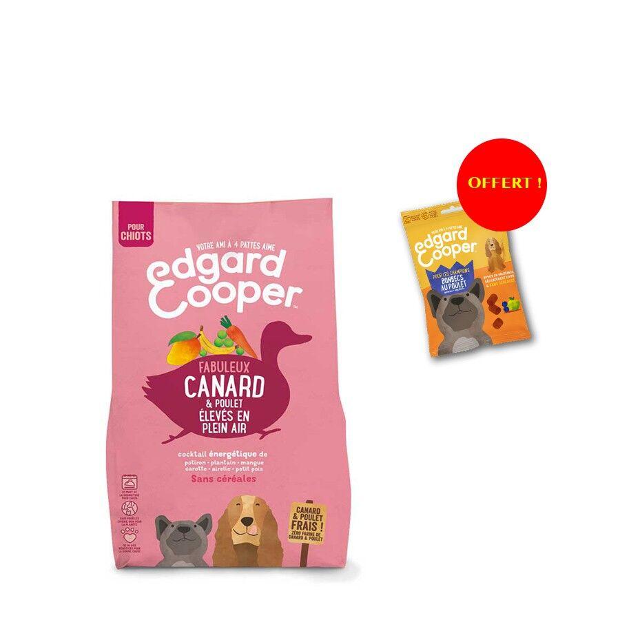 Edgard & Cooper Offre Edgard & Cooper: 1 sac de croquettes Canard et Poulet frais sans céréales Chiot 2,5 kg = 1 sachet de Bonbecs au poulet offert