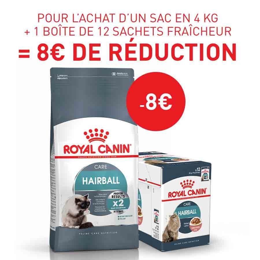 Royal Canin Feline Care Nutrition Offre Royal Canin: 1 sac Féline Care Nutrition Hairball Care 4 kg + 12 sachets Hairball sauce achetés = 8€ de remise immédiate