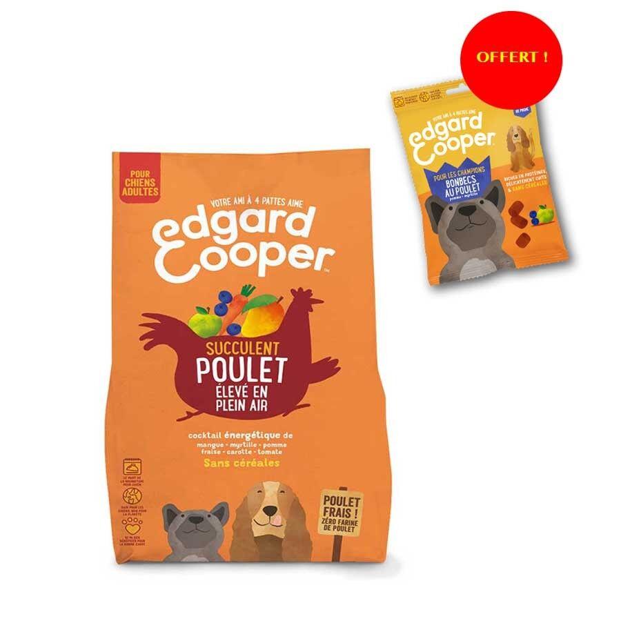 Edgard & Cooper Offre Edgard & Cooper: 1 sac de croquettes au Poulet frais Chien Adulte 2,5 kg acheté = 1 sachet de Bonbecs au poulet offert