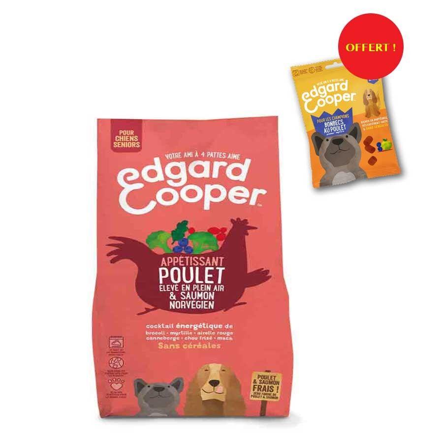 Edgard & Cooper Offre Edgard & Cooper: 1 sac de croquettes Poulet frais & Saumon norvégien sans céréales Chien Senior 2,5 kg = 1 sachet de Bonbecs au poulet offert