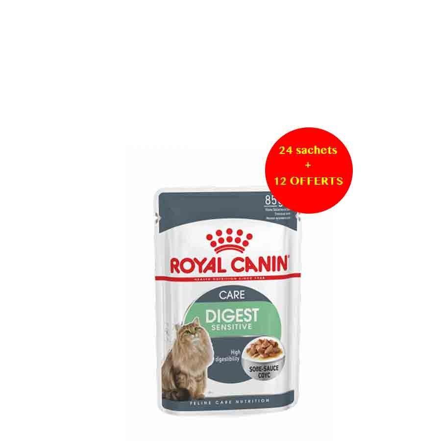Royal Canin Feline Health Nutrition Offre Royal Canin Féline Care Nutrition Digest Sensitive sauce 24 sachets + 12 offerts