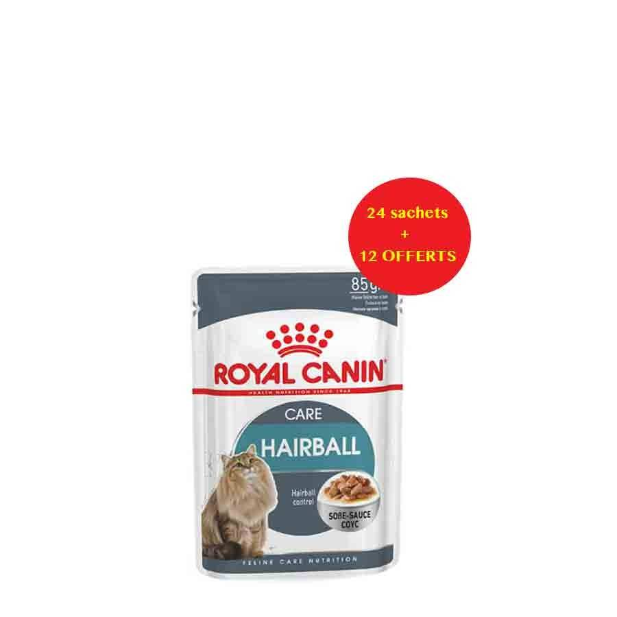 Royal Canin Feline Care Nutrition Offre Royal Canin Féline Care Nutrition Hairball Care sauce 24 sachets + 12 offerts
