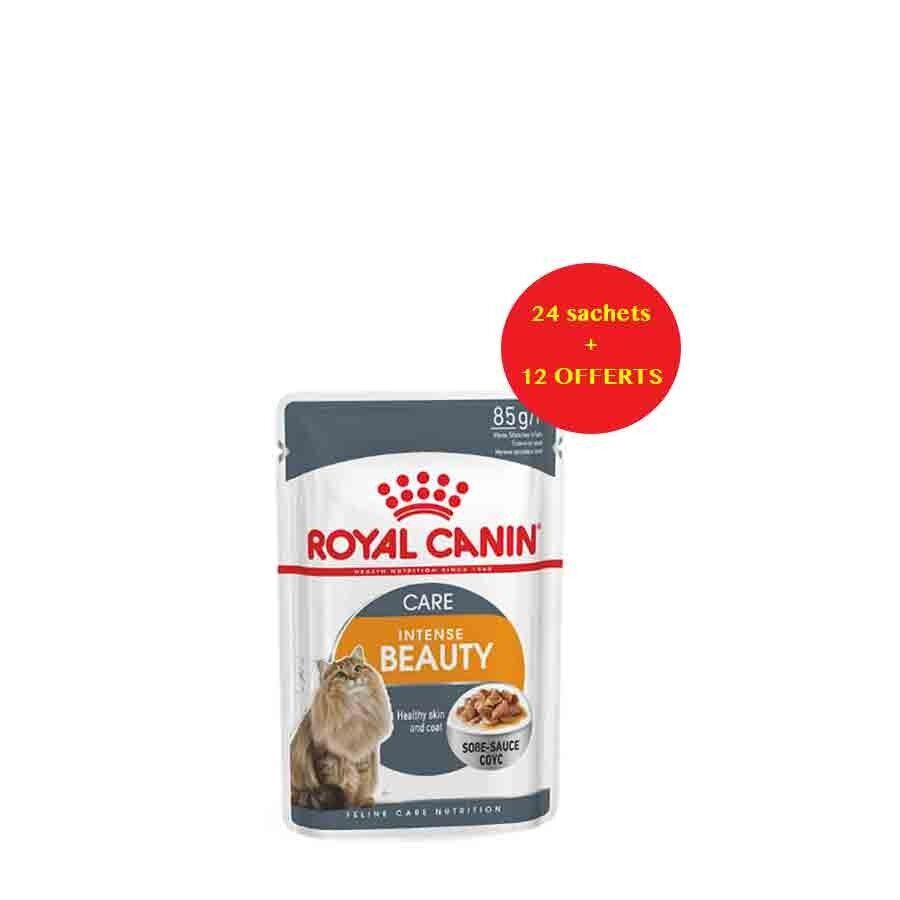 Royal Canin Feline Care Nutrition Offre Royal Canin Féline Care Nutrition Intense Beauty sauce 24 sachets + 12 offerts